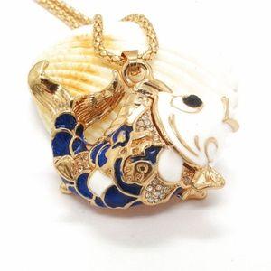 Jewelry - New Blue Koi Fish Pendant Necklace Enamel Crystal